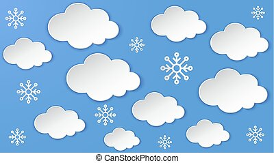 Landscape with Cloud, snowflake on the night sky frame. Heavy snow, winter season. Paper cut layered art, digital origami craft. Overcast sky cloudy scene.