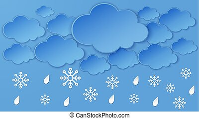 Landscape with Cloud, snowflake, rain drops on the night sky frame. Heavy snow, winter season. Paper cut layered art, digital origami craft. Overcast sky cloudy scene.