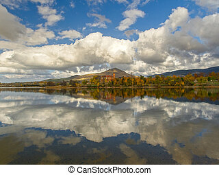 landscape with clouds reflected in a lake