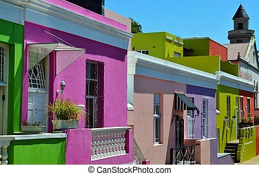 Landscape with colorful houses in Bo Kaap Cape Town