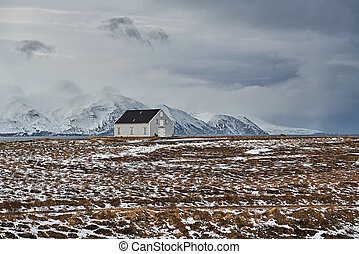 Landscape with country house in Iceland