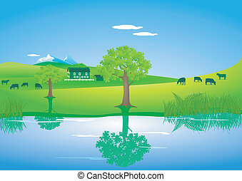 Landscape with cows on a lake