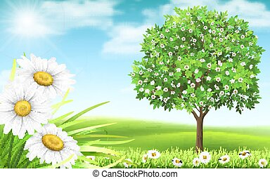 Landscape with daisy and tree on a background of hills.