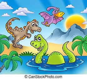 Landscape with dinosaurs 1 - color illustration.