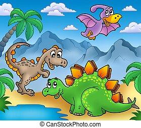 Landscape with dinosaurs 2 - color illustration.