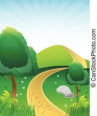 landscape with dirth road illustration