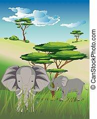 Landscape with Elephant
