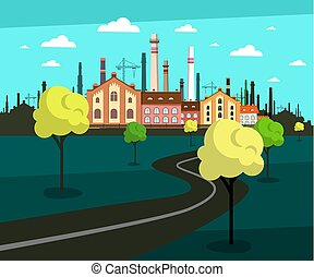 Landscape with Factory on Background and Empty Road. Vector Urban Scene.