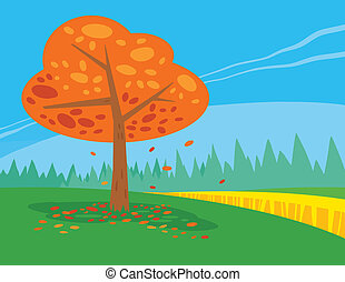 Landscape with Fall Tree