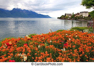 landscape with flowers and Lake Geneva, Montreux,...