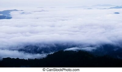 Landscape with fog time lapse