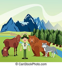 Landscape with forest animals design, mountain icon, Colorfull