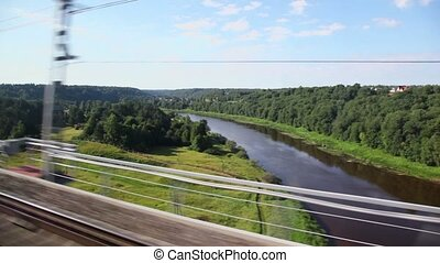 Landscape with forest and river, small train station in village pass by at summer day, trainview