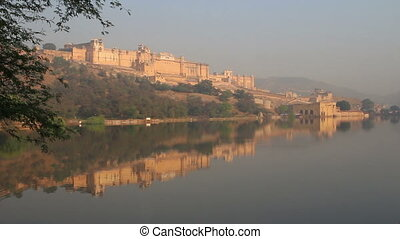 landscape with fort and lake in Jaipur India
