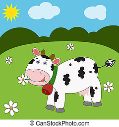 Landscape with funny cow