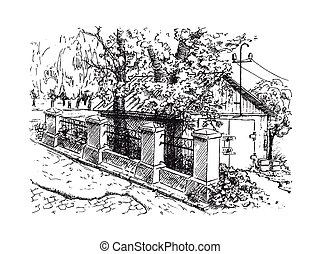 Landscape with garage and old stone fence