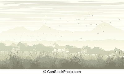 Landscape with herd of horses.