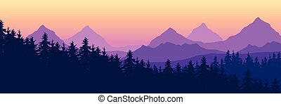 Landscape with high mountains and coniferous forest in multiple layers, under yellow purple sky and space for text