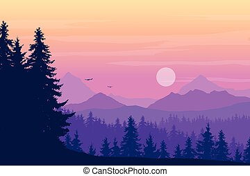 Landscape with high mountains and coniferous forest in multiple layers, with flying birds and sun or moon on yellow purple sky and cloud, with space for text