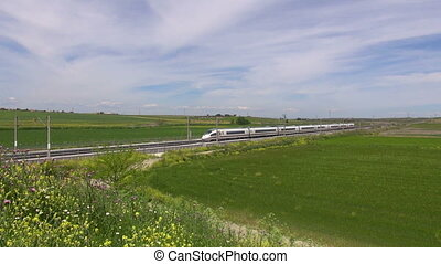 landscape with high speed train - railway with high speed...