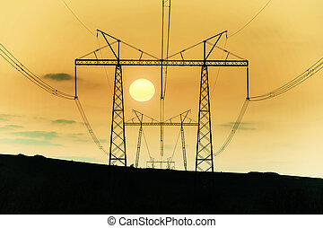 Landscape with high-voltage power line