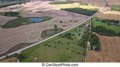 Landscape with highway and fields