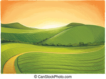 Landscape with Hill Horizon