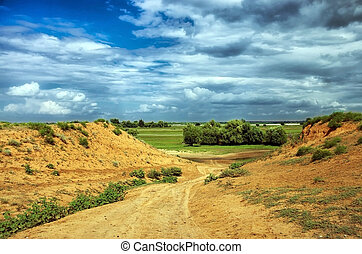 landscape with hills clay soil