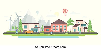 Landscape with hills - modern flat design style vector illustration