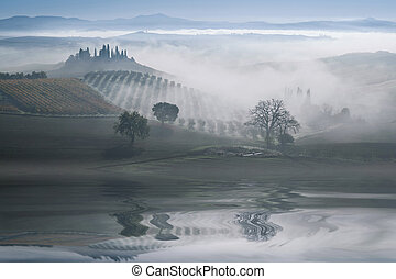 Landscape with Hills Reflection in Water
