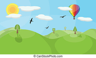 Landscape with Hot Air Balloon - A landscape with mountains,...