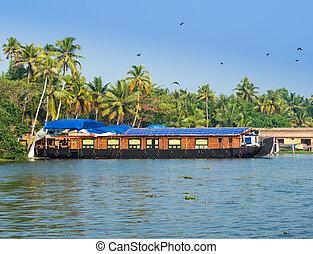 landscape with houseboat in kerala backwaters, India, kerala
