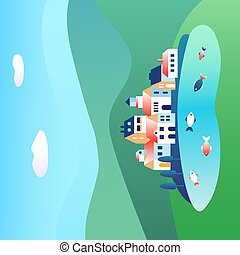 Landscape with houses and lake, village in the meadows. Vector illustration