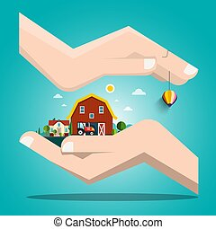 Landscape with Houses in Human Hands Vector Illustration.