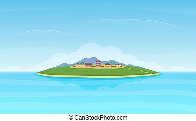 Landscape with island in the ocean.
