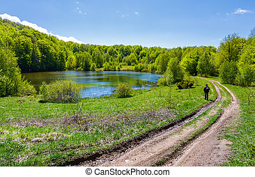 landscape with lake among the forest. countryside road down...