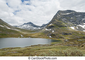 Landscape with lake and mountains in Norway