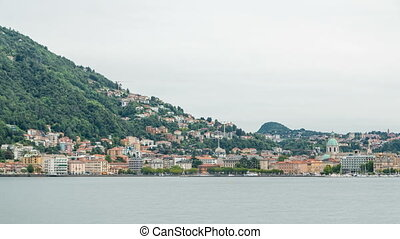 Landscape with Lake Como timelapse, Lombardy, Italy. Houses...