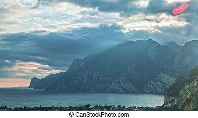 Landscape with Lake Garda. Torbole, Trentino, Italy -...