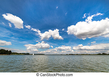 Landscape with lake in summer - Blue sky