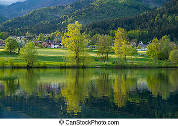 Landscape with lake reflections