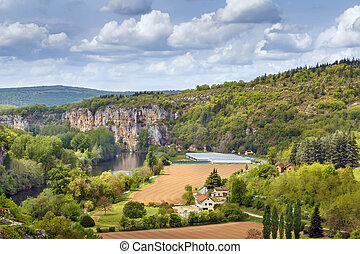 Landscape with Lot river, France