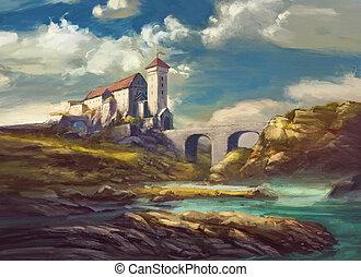 landscape with medieval castle