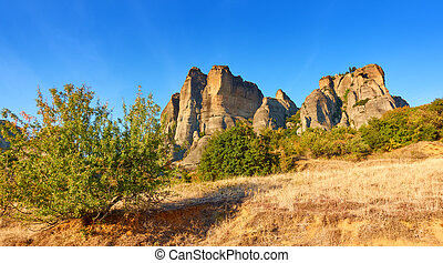 Meteora rocks in Kalambaka - Landscape with Meteora rocks in...