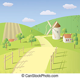 Sunny summer landscape with mill