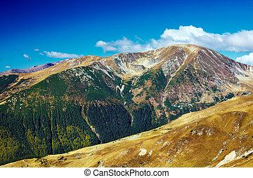 Landscape with Mohoru peak of Parang mountains in Romania,...