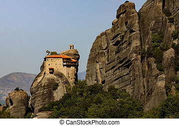 Landscape with monasteries in Meteora, Greece.