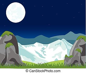 Landscape with mountain in the night
