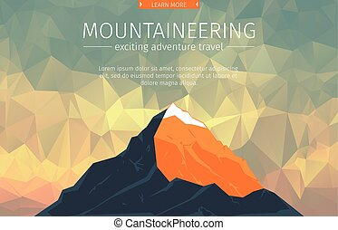 Landscape With Mountain Peaks On Triangulated Background....