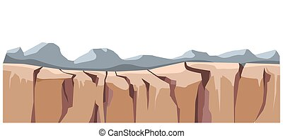 Remote natural wonders, landscape with mountain ranges. Peaks and cliffs, hills and ancient formations made of rock and stone. Scenery of wilderness, panorama with rigidity, vector in flat style